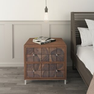 Noona 2  Drawer Solid Wood Nightstand in Brown