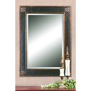 Kristy Rectangular Beveled Vanity Mirror in Distressed By Fleur De Lis Living