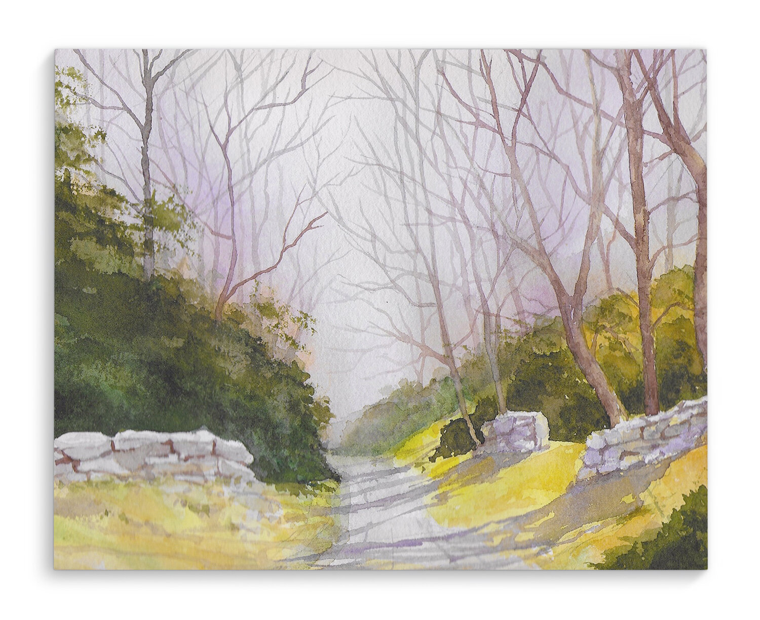 Charlton Home Road With Stone Walls Color Painting Print Wayfair