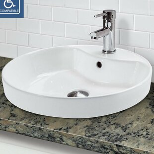 DECOLAV Classically Redefined Vitreous China Circular Vessel Bathroom Sink with Overflow