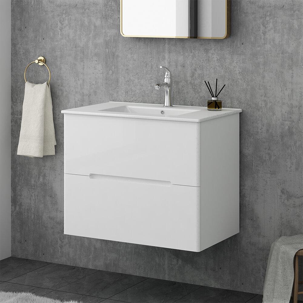 Orren Ellis Brooklington 30 Wall Mounted Single Bathroom Vanity Set Wayfair