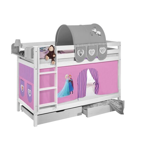Etagenbett Disney's Frozen mit Hochbettvorhang  90cm x 190cm | Kinderzimmer > Kinderbetten > Etagenbetten | Lila | Massivholz - Kiefer - Lackiert - Baumwolle | frozen