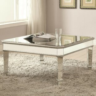 Corwin Mirrored Transitional Wooden Coffee Table by Rosdorf Park