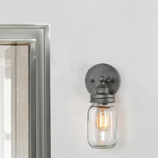 Dalrymple Aged Glass Jar 1-Light Bath Sconce by Gracie Oaks