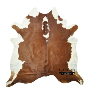 Best Rochester Cowhide Brown/White Area Rug By World Menagerie