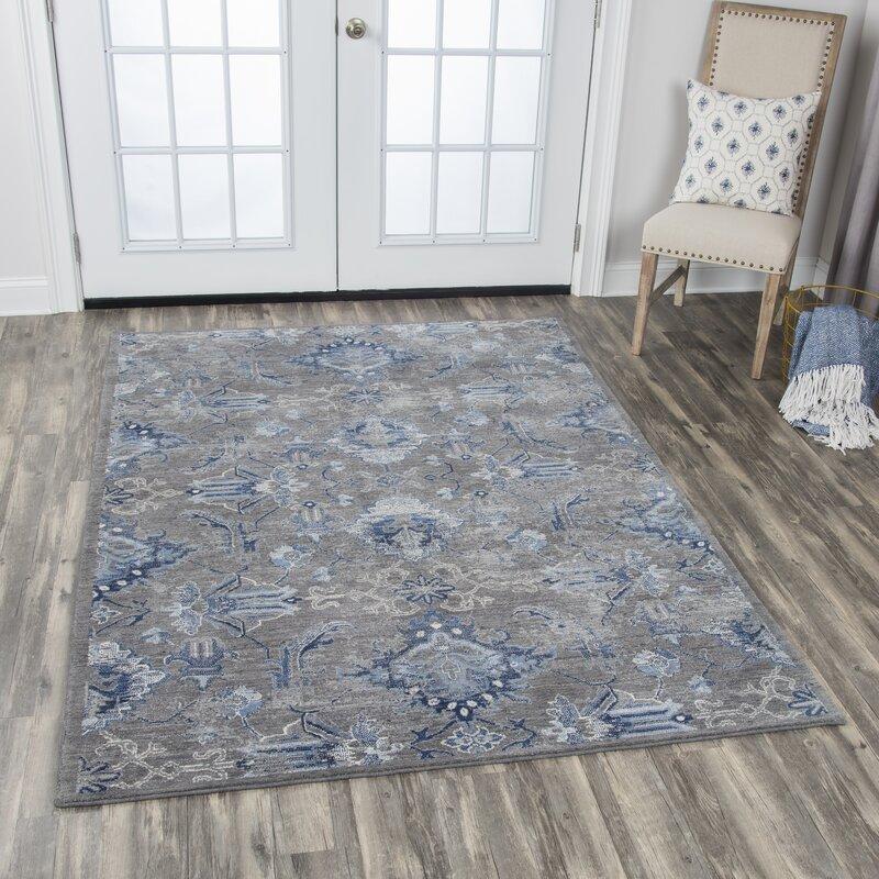 Bungalow Rose Esmeyer Wool Gray Blue Area Rug Wayfair
