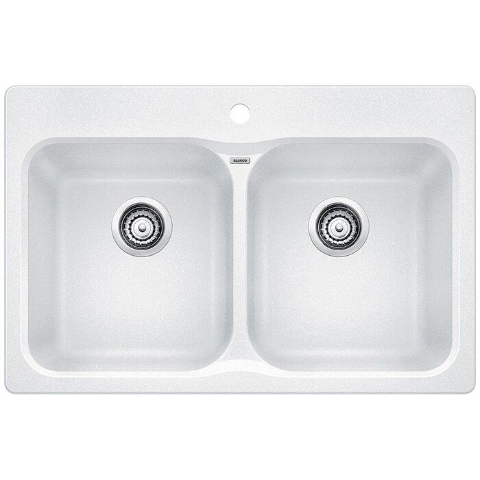 vision silgranit   32   x 21   double basin drop in kitchen sink blanco vision silgranit   32   x 21   double basin drop in kitchen      rh   wayfair ca