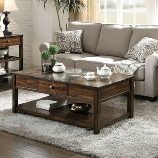 Look for Ipswich Traditional Rectangular Glass and Wooden Lift Top Coffee Table with Storage by Darby Home Co