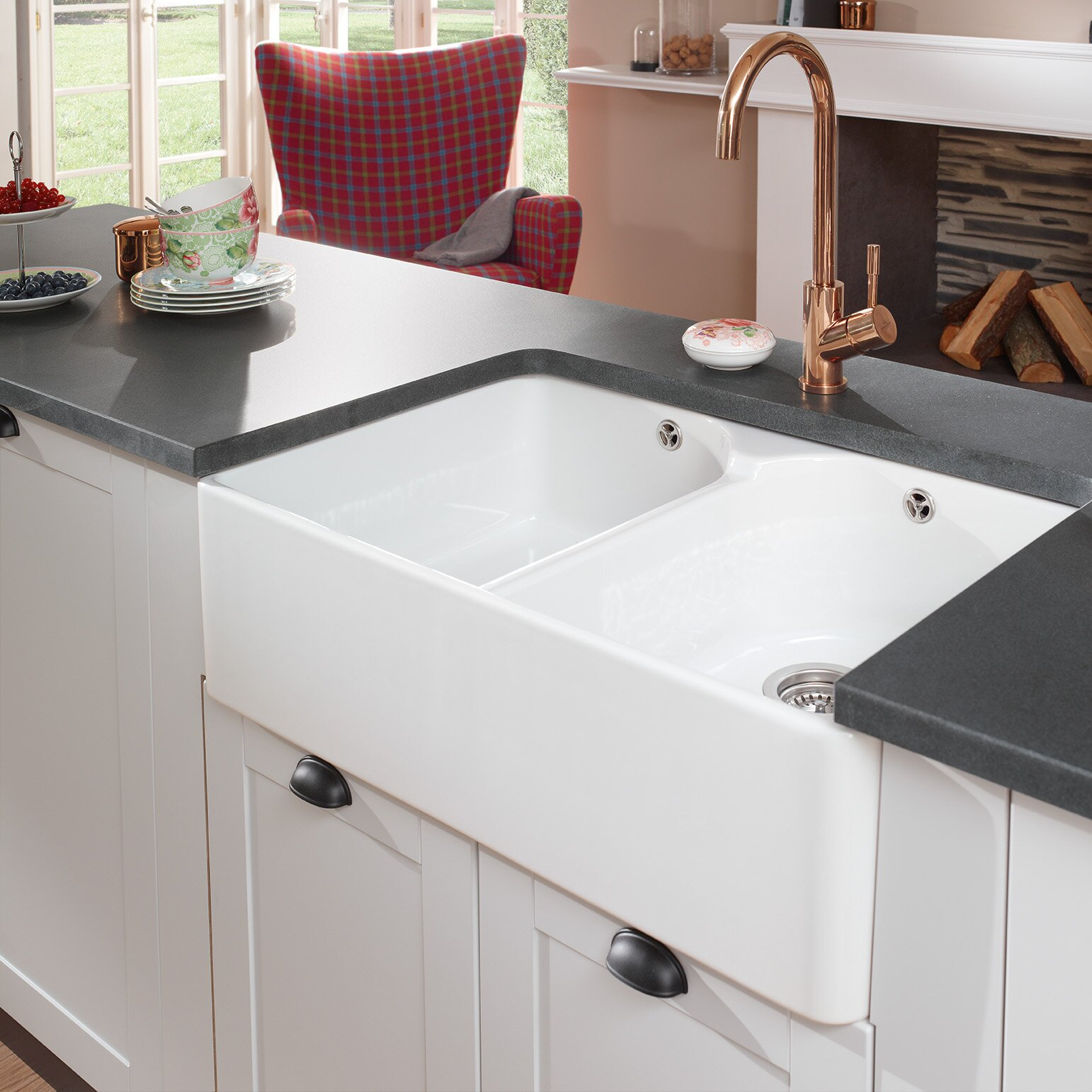 farmhouse 795cm x 50cm double bowl kitchen sink - Kitchen Sink Uk