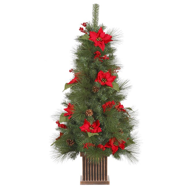 4 poinsettia berry and pine cone potted artificial christmas tree - Faux Christmas Trees