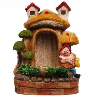 Sintechno Resin Cute Gnome and Bonsai Sculptural Fountain