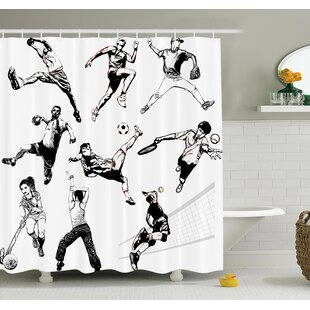 Sketch Sports Playing Themed Shower Curtain Set
