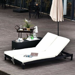 Nantan Double Reclining Sun Lounger With Cushion And Table Image