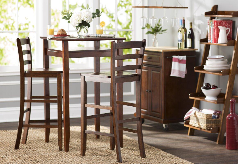 100 bar table and stool set amerihome retro style chrome ba