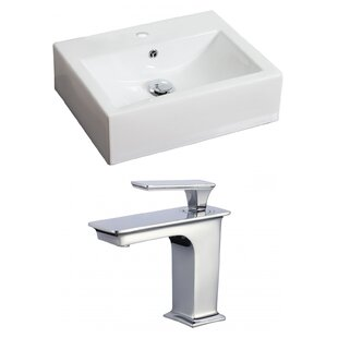 Best Price Ceramic Rectangular Vessel Bathroom Sink with Faucet and Overflow ByAmerican Imaginations