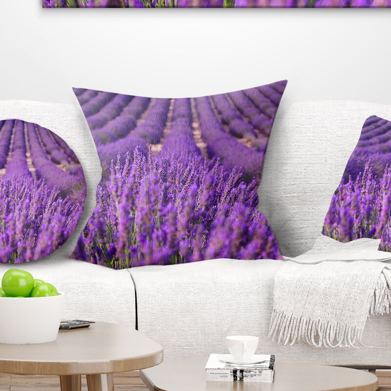 East Urban Home Floral Beautiful Fragrant Lavender Fields Pillow Wayfair