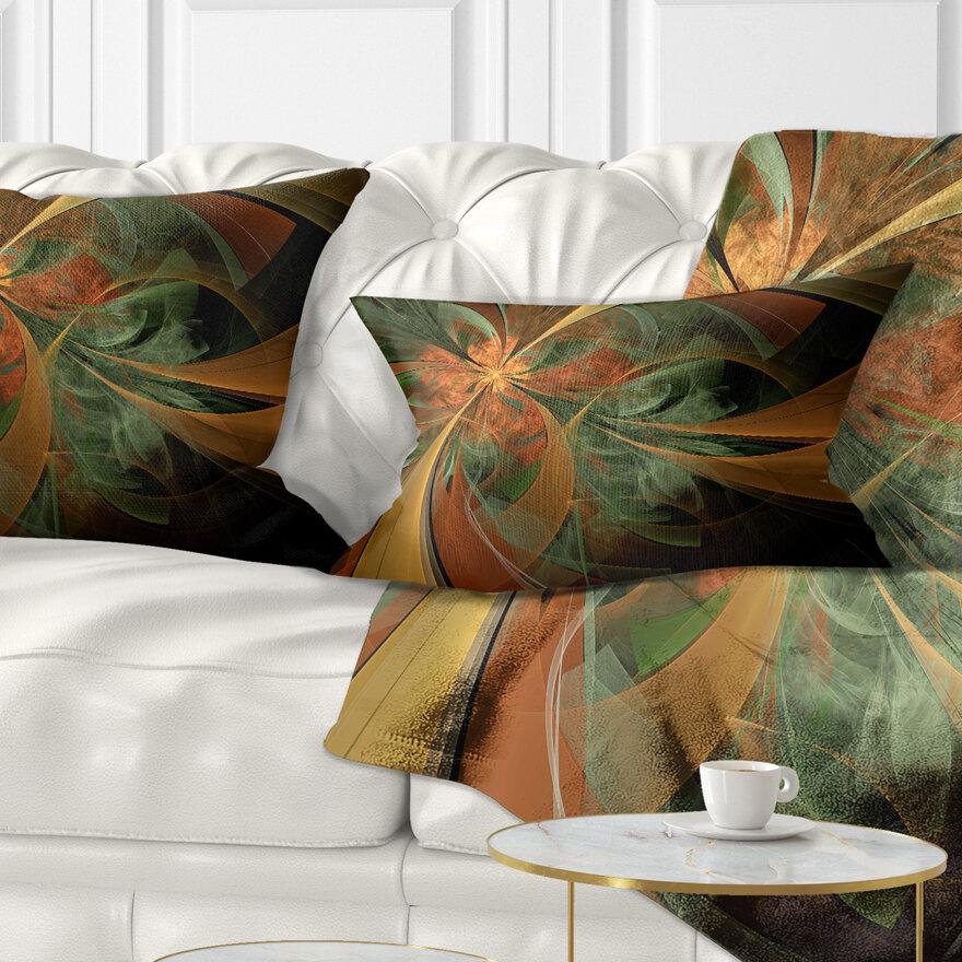 East Urban Home Floral Symmetrical Digital Fractal Flower Lumbar Pillow Wayfair