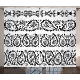 Flowers and Snowflakes Decor Room Darkening Rod Pocket Curtain Panels (Set of 2) by East Urban Home