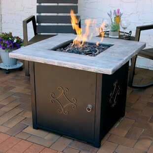 Margate Aluminum/Stone Propane Fire Pit Table with Lava Rock
