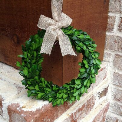 Preserved Boxwood Wreath with Burlap Bow