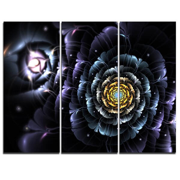 Designart Dark Blue Fractal Flower In Dark 3 Piece Graphic Art On Wrapped Canvas Set Wayfair