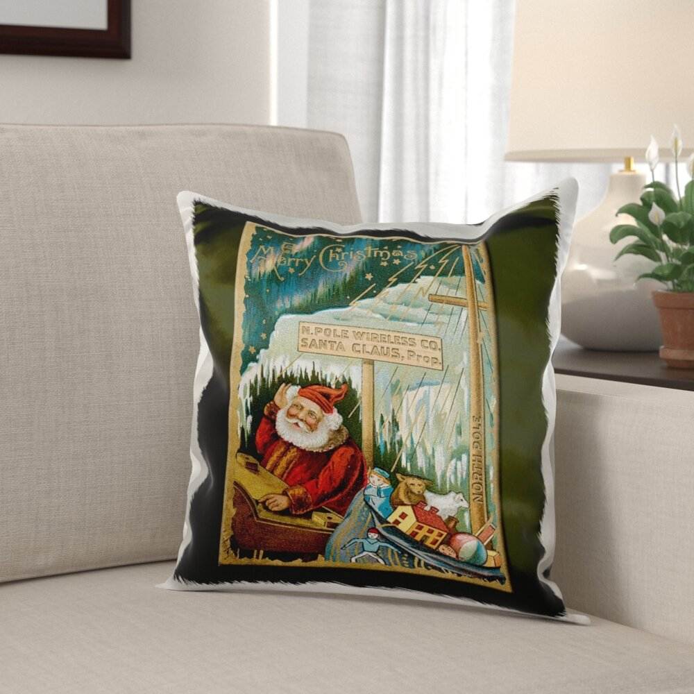 The Holiday Aisle Mcpeters Christmas Card With Santa At The North Pole With A Sack Of Toys Pillow Cover Wayfair