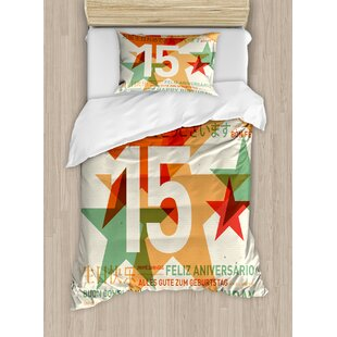 15th Birthday Decorations Retro Style Backdrop Fifteen Years Old Global World Languages Duvet Set