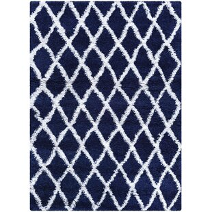 Order Cracraft Navy Blue/White Area Rug By Wrought Studio