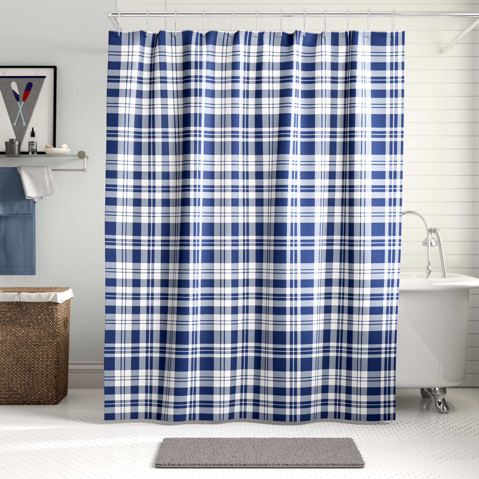 cheserfo plaid single shower curtain