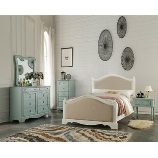 Dove Wooden Full Platform Bed With Padded Headboard & Footboard by One Allium Way