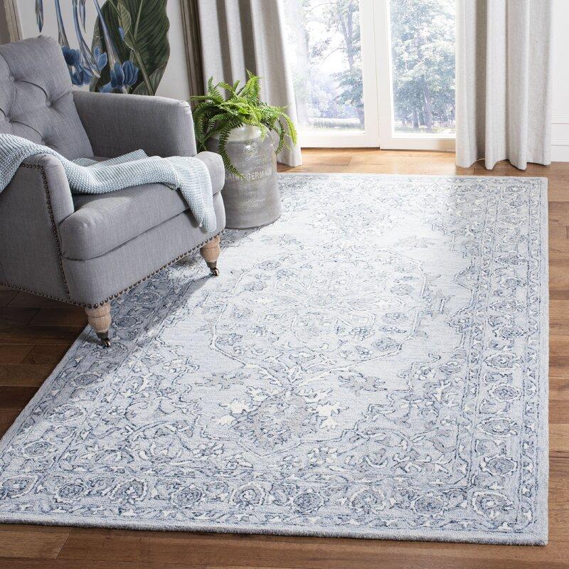Charlton Home Daggett Oriental Handwoven Wool Light Blue Ivory Area Rug Reviews Wayfair