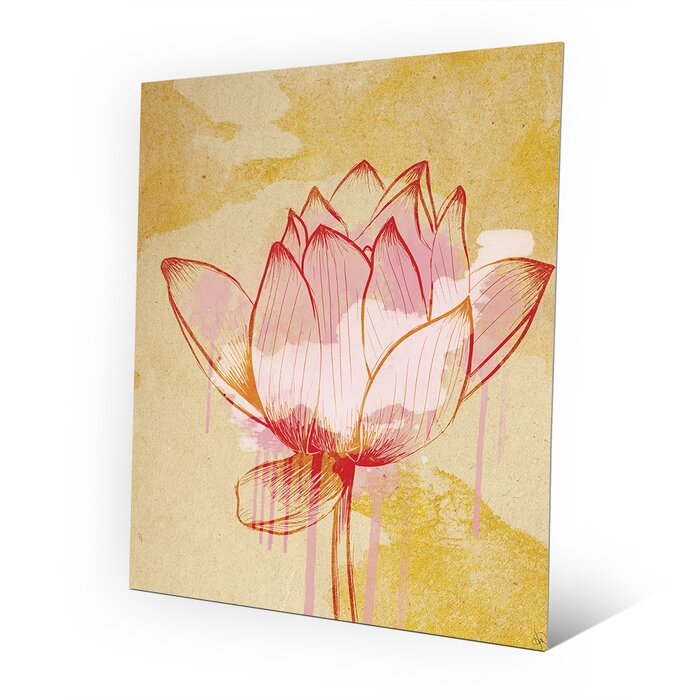 Click Wall Art Metal Red Water Lily Painting Print on Plaque ...