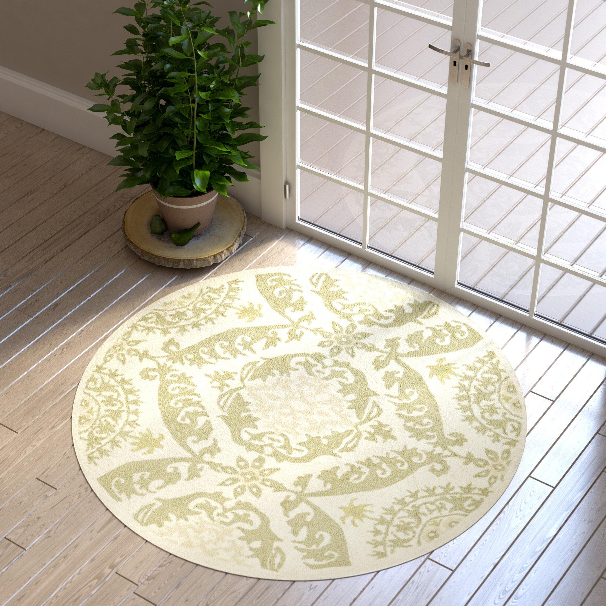 Charlton Home Holmsten Floral Hand Hooked Wool Green Area Rug Reviews Wayfair Ca