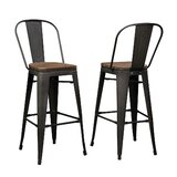 Burrill Solid Wood 27.95'' Bar Stool by 17 Stories