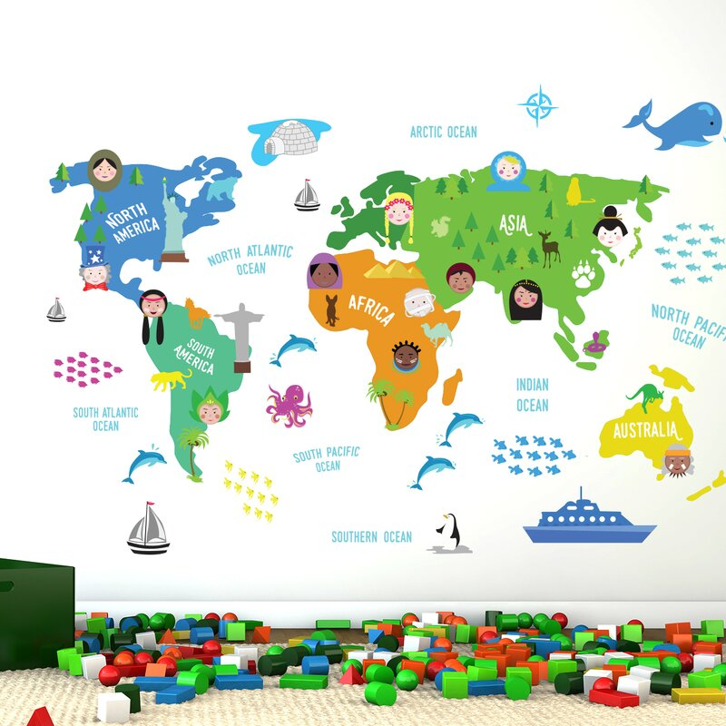 Ebern Designs Nursery World Map Wall