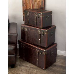 3 piece wood and leather trunk set - Storage Chest Trunk