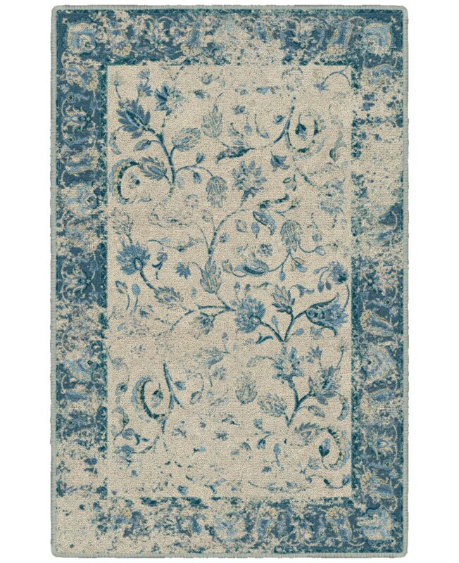 Charlton Home India Vintage Persian Blue Area Rug, Size: Rectangle 76 x 10