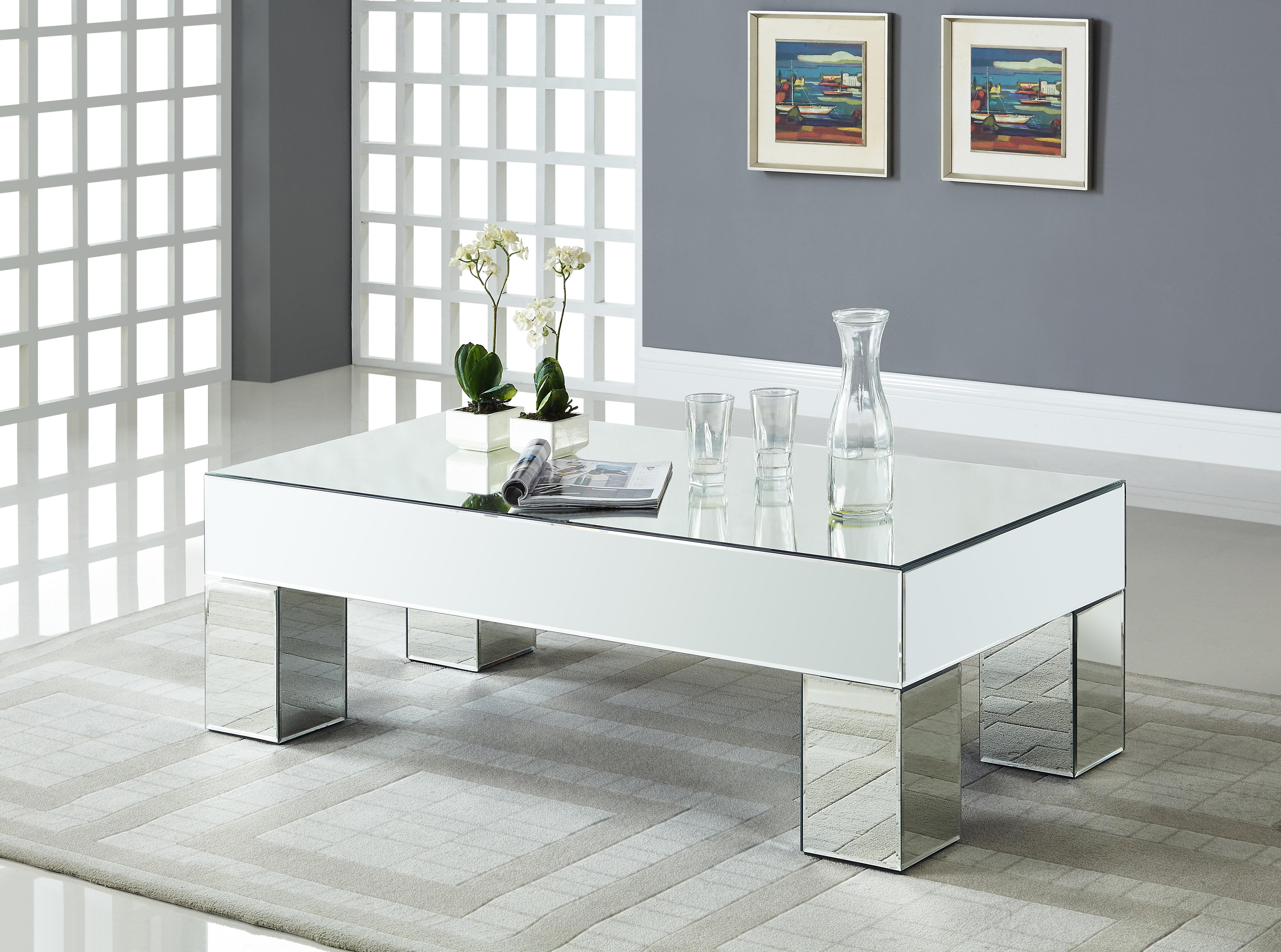 House Of Hampton Nevels Mirrored Coffee Table Reviews Wayfair