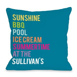 Personalized Summertime At The Family Throw Pillow