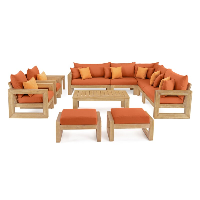 Rosecliff Heights  Mcclain 11 Piece Sunbrella Sectional Seating Group with Cushions Cushion Color: Tikka Orange