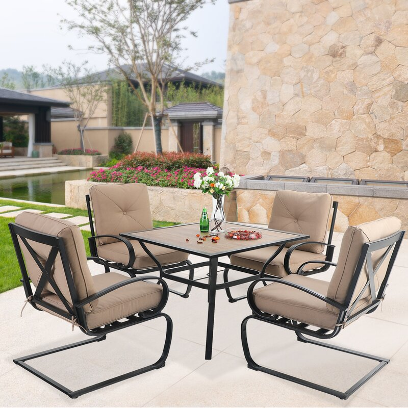 Red Barrel Studio Keohane Outdoor C-Spring 5 Piece Dining Set with Cushions