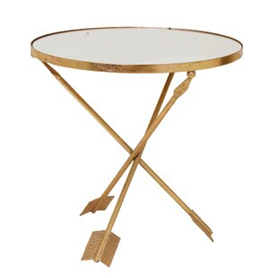 Dollman Metal and Glass Arrow Mirrored Top End Table