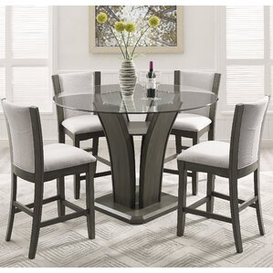 Kangas 5 Piece Round Glass Top Counter Height Dining SetCounter Height Grey Kitchen   Dining Room Sets You ll Love   Wayfair. High Dining Outdoor Tables. Home Design Ideas