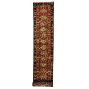 Affordable One-of-a-Kind Kempsford Flat Weave Reversible Kilim Hand-Knotted Black/Rust Red/Gold Area Rug By Canora Grey
