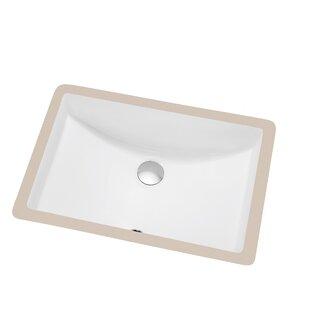 Dawn USA Ceramic Rectangular Undermount Bathroom Sink with Overflow