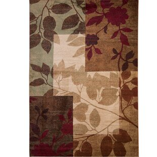 Savings Raffin Beige/Brown Leaves Area Rug By Andover Mills