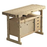 """Nordic Plus 1450 57""""W Wood Top Workbench and Storage Cabinet Combo"""