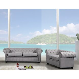 Darby Home Co Kissling Chesterfield 2 Piece Leather Living Room Set