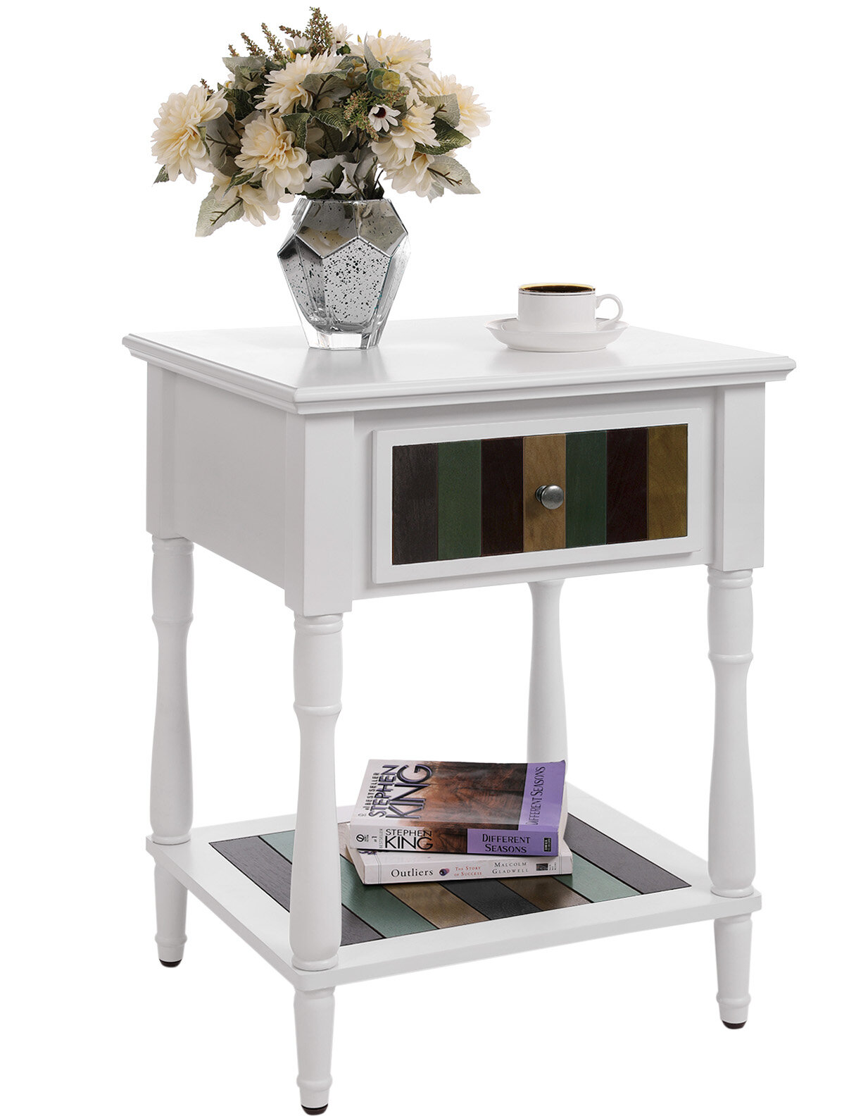 Nightstand Sofa Side End Table Bedside Table w// Drawer Shelf Wood Legs Home