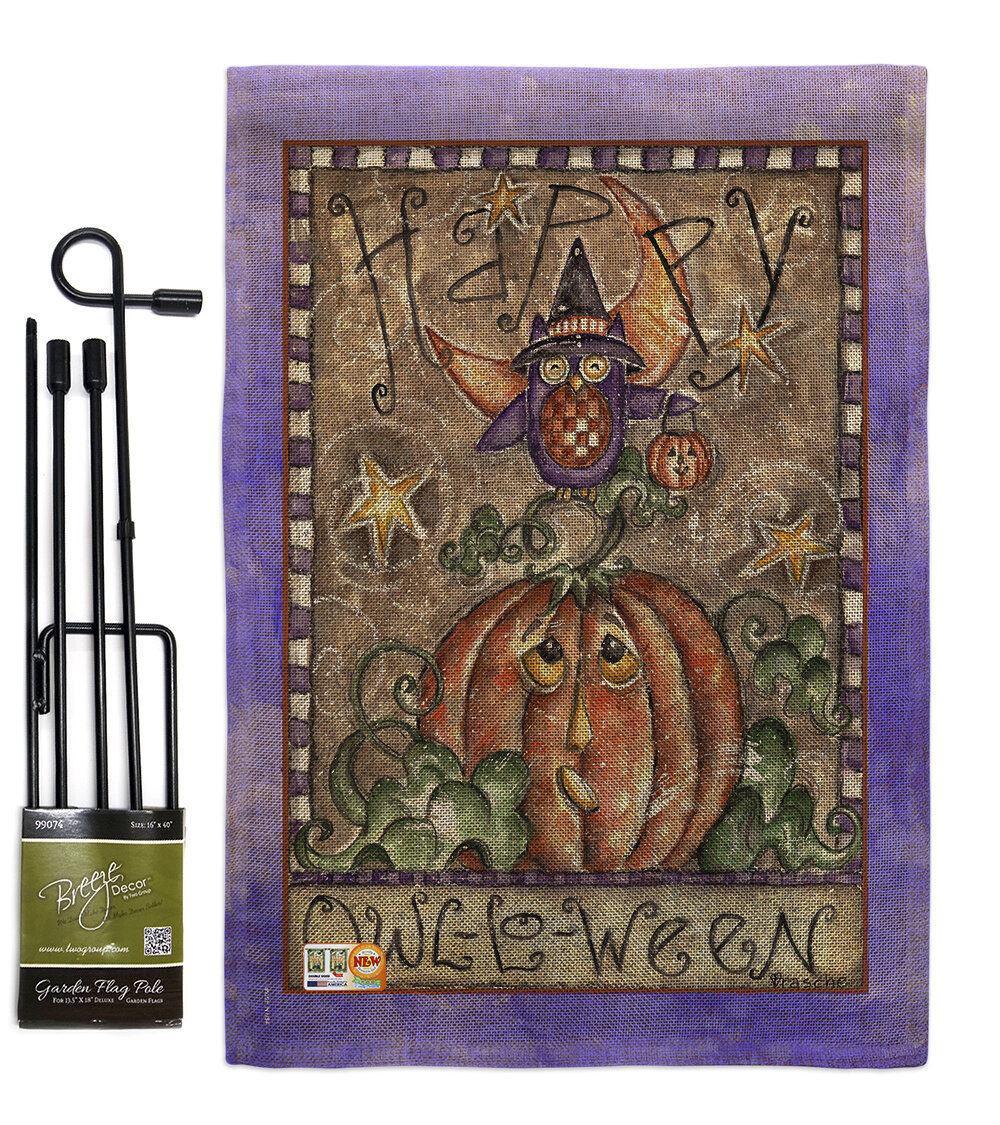 Breeze Decor Happy Owl Lo Ween Fall Halloween Impressions 2 Sided Polyester 1 6 X 1 1 Flag Set Wayfair